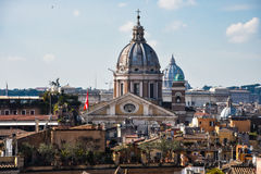 Dome of the Basilica of SS. Ambrose and Charles on the Corso. Rome, Italy Royalty Free Stock Photos