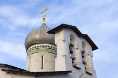 Dome and belfry of the medieval church of Peter and Paul with the Buoy, Pskov. Dome and belfry of the medieval church of Peter and Paul with the Buoy close-up stock photography