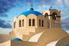 Dome and bell tower details of the main church in Emporio, Santorini Stock Photography
