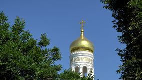 The dome of the bell tower in the Holy Dormition Monastery Odessa stock footage