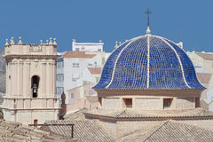 Dome and bell tower of san bartolome church Stock Images