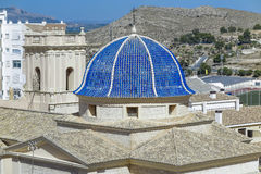 Dome and bell tower of san bartolome church Royalty Free Stock Image