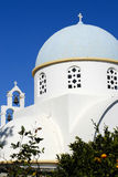 Dome and the bells of the church. The dome and the bells of an old traditional orthodox greek church in marmas, crete stock photography