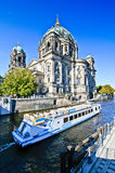Dome in Berlin. Boat on river spree and dome in berlin, germany Royalty Free Stock Photography