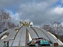 Dome. Bienne city,  destroyed old car Royalty Free Stock Photos