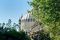 Dome of Brighton Pavilion behind trees Stock Photography