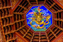 Dome with carved dragon at Lijiang Mu House Royalty Free Stock Photo