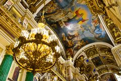 The dome of a cathedral. In Russia is splendid and magnificent. The delicate embossment is golden and attractive. The religious atmosphere is superb stock image