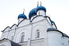 The dome of a cathedral. In Russia is splendid and magnificent. The delicate embossment is golden and attractive. The religious atmosphere is superb royalty free stock photography