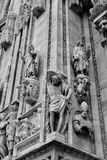 Low view Duomo Cathedral facade. Vertical view of the facade of the Dome Milan`s Cathedral royalty free stock photography