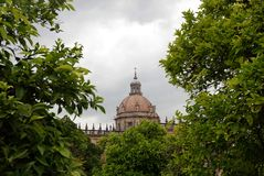 Dome of the cathedral of Jerez de la Frontera, Spain. Catedral de Jerez de La Frontera near Cadiz in Andalusia, Spain royalty free stock photos