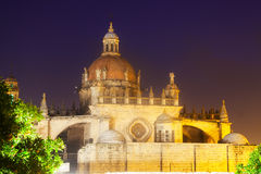 Dome of  Cathedral in  night time. Jerez de la Frontera Royalty Free Stock Images