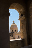 Dome of cathedral in Noto from a bell tower, Sicily Royalty Free Stock Image