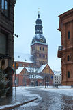 Dome cathedral in old Riga city by winter, Latvia Royalty Free Stock Images