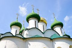 The dome of a cathedral. In Russia is splendid and magnificent. The delicate embossment is golden and attractive. The religious atmosphere is superb royalty free stock image