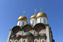 The dome of a cathedral. In Russia is splendid and magnificent. The delicate embossment is golden and attractive. The religious atmosphere is superb stock photo