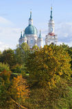 The dome of the Cathedral of St. Catherine the Martyr in the autumn landscape. Kingisepp Royalty Free Stock Images