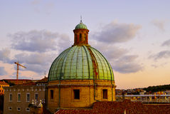 Dome of Cathedral sunset Ancona Italy. Dome of Cathedral under golden rays of setting sun Ancona Italy stock image