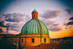 Dome of Cathedral sunset Ancona Italy Stock Photography
