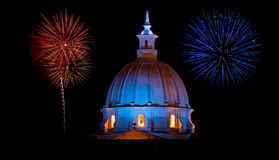 Cathedral and Fireworks Stock Photo