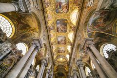 Dome and ceiling of the Baroque church of Santa Maria delle Vigne. Genoa, Italy Royalty Free Stock Image