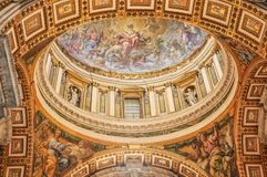 The ceiling of the St. Peter Basilica in Vatican royalty free stock image
