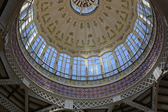 Dome of the Central Indoor Market, Valencia, Spain Royalty Free Stock Photography