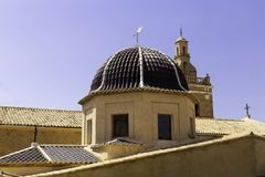 Dome with ceramic tiles in the church Relleu, Alicante province, Spain.  royalty free stock photos