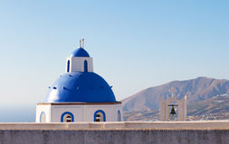 Dome and church bell at Santorini, Greece Stock Images