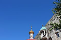 Dome of the church and blue sky. Dome of the church against the blue sunny sky in Crimea Royalty Free Stock Photography