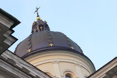 Dome of the church. Copper dome of the church against the sky royalty free stock photos