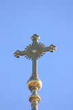 The dome of the Church. With a cross on sky background stock photo