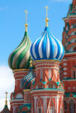 Dome of the Church. Dome different colors. Christianity. Color domes of roofs Christian a frame with gold crosses. Architectural elements close up. Moscow Royalty Free Stock Photos