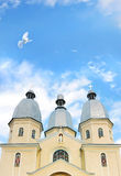 Dome of a church with dove flying. Blue sky, dome of a church and dove flying royalty free stock photo