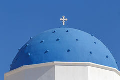 Dome of church of Holy Cross in Perissa Stock Image