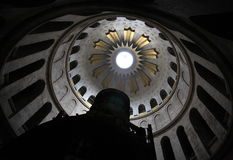 Dome, Church of the Holy Sepulchre. The Dome of the ancient Church of the Holy Sepulchre in Jerusalem, Israel. The sepulchre itself in the foreground Stock Photos
