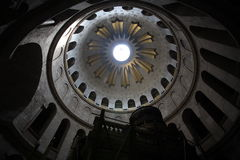 Dome, Church of the Holy Sepulchre. The Dome of the ancient Church of the Holy Sepulchre in Jerusalem, Israel. The sepulchre itself in the forefground Stock Photography