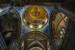 Dome in the Church of the Holy Sepulchre in the old city of Jerusalem. Colorful dome of the Church of the Holy Sepulchre in the Old City of Jerusalem royalty free stock image