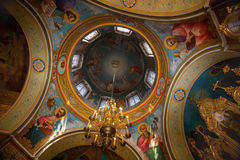 Dome of the church painted frescoes depicting holy martyrs. Stock Photography