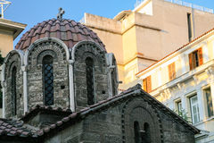 Dome of church Panagia Kapnikarea in Athens city. Travel to Greece - dome of church Panagia Kapnikarea in Athens city stock photography