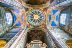 The dome of the Church of Sant`Agostino in Rome, Italy. Sant`Agostino is a Roman Catholic church in the piazza of the same name near Piazza Navona, in the rione Royalty Free Stock Photos