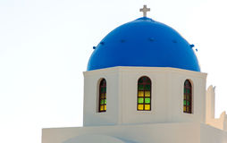 Dome of a church in Santorini Stock Photography
