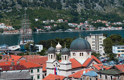 Dome of Church of St. Nicholas.Montenegro.Kotor. View of the city of Kotor.yacht in the bay and Church of St. Nicholas Stock Image