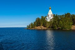 The dome of the church of St. Nicholas Skete. The wonderful island Valaam is located on Lake Lodozhskoye, Karelia. Balaam - a step to heaven royalty free stock photography