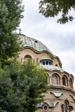 Dome of the Church of St. Paraskeva, the third-largest temple in Sofia, Bulgaria, architectural detail. The dome of the Eastern Orthodox Church of St. Paraskeva royalty free stock photos