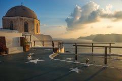 Dome of a church and stars, Oia, Santorini, Greece Stock Photos