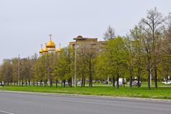 The dome of the Church among the trees. Beautiful view stock photos