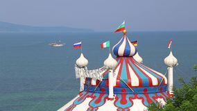 Dome of the circus near the sea stock video footage