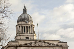 The dome of the City Council building in Nottingham, England. The City Council building is located in the Old Market Square, at the centre of the city of Royalty Free Stock Photography