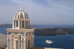 Dome of classical church of Santorini island Stock Photography